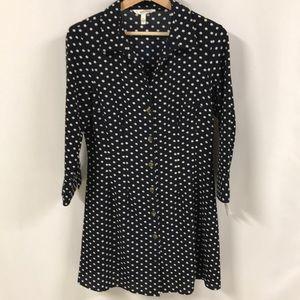 Navy Blue Polka Dot Dress Junior Large button down
